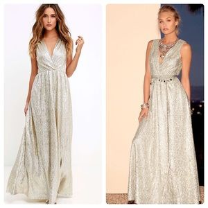 Lulus All That Shimmers Is Gold metallic maxi XS S